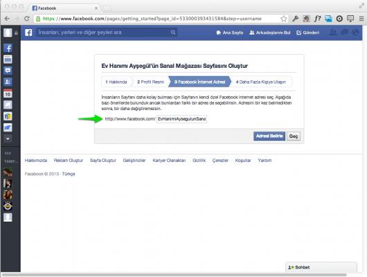 Facebook Sayfanızın Adresi