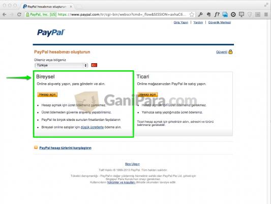 PayPal Hesap Türü Seçimi