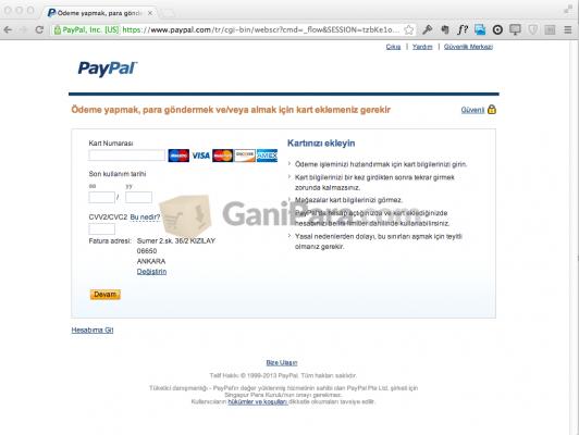 PayPal Kredi Kartı Tanımlama