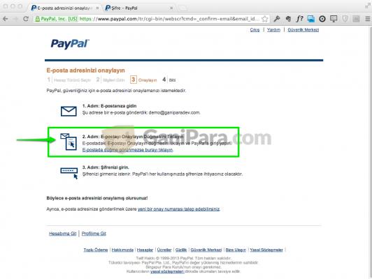 PayPal Eposta Doğrulama Adım - 1