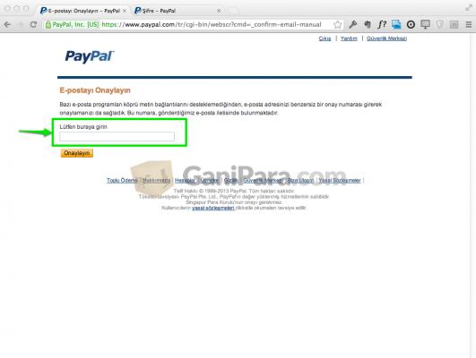PayPal Eposta Doğrulama Adım - 2