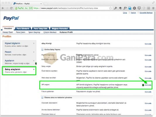 PayPal Satış Araçları - API Erişimi