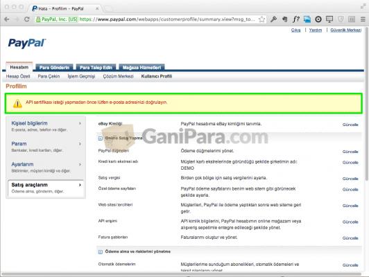 PayPal Satış Araçları - Hata
