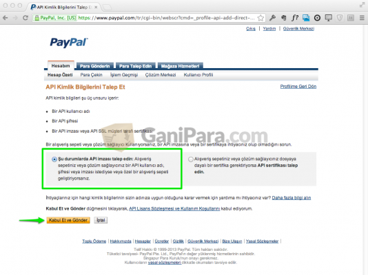 PayPal API Erişimi