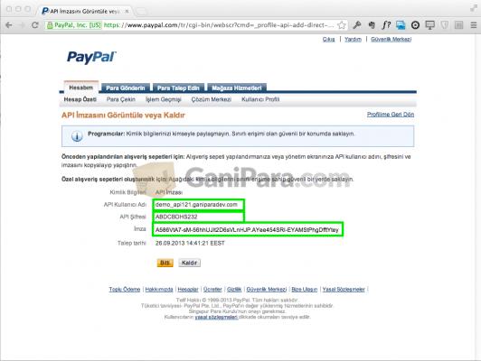 PayPal API Bilgileri