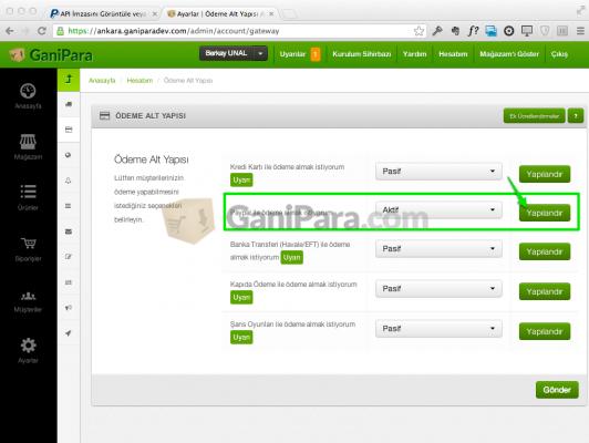 Ganipara - Ödeme Altyapısı Sayfası