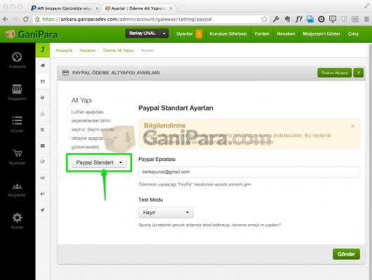 Ganipara - PayPal Express Ayarları